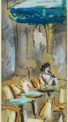 LLOVERA, Adolf (1942-) Terrassa [material gràfic] / Adolf Llovera. -- [s.a.] -- Oli/ paper/ cartró ; 20x8'5 cm