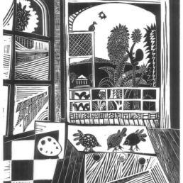 MOLL, Carles (1969- Finestra [material gràfic] / Carles Moll. -- [s.a.] -- Linogravat ; 30x30 cm.