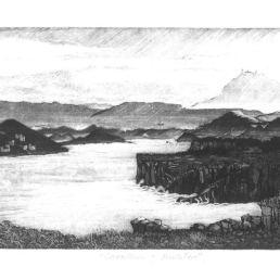 SHIRAIVA, Mitico (1947-) Cavalleria i Monte Toro [Material gràfic] / Mitico Shiraiva. -- [s.a.] -- Gravat calcogràfic ; 18x34,5 cm.