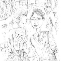 FANER, Pau (1949- Festa de carrer [material gràfic] / Pau Faner. -- [s.a] -- Tinta/paper ; Dina 4.
